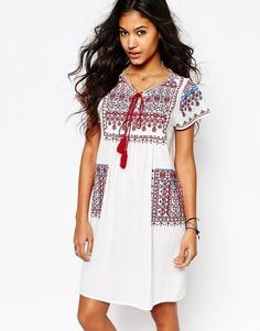 Image 1 ofStar Mela Lina Embroidered Tunic Dress with Pockets
