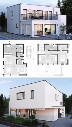 Two Floor House Plans with Flat Roof & Carport Modern Contemporary European Minimalist Design Ideas Modern House Design with 2 Story & Flat Roof Contemporary European Minimalist Styles, Architecture Minimalist House Design, Minimalist Home, Modern House Design, Flat Roof House Designs, Layouts Casa, House Layouts, Model House Plan, House Plans, Modern House Floor Plans