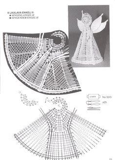 ENKELI 1 Bobbin Lacemaking, Bobbin Lace Patterns, Crochet Angels, Crochet Butterfly, Angel Crafts, Crochet Ornaments, Lace Heart, Lace Jewelry, Lace Making
