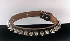 Super Mega Spiked Dog Collar GENUINE LEATHER  -  Medium Black Pet Accessories by ToxifyDesigns on Etsy