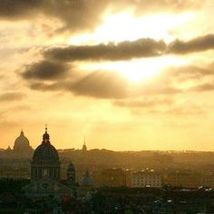 Sunset in Rome, Holy Thursday, April 2, 2015.  Facebook post by Roma Downey.