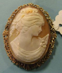 Oval Carved Cameo Brooch With Profile Of A Woman With Flowers In Her Hair