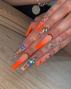 Orange Acrylic Nails, Clear Acrylic Nails, Pink Glitter Nails, Bling Acrylic Nails, Square Acrylic Nails, Summer Acrylic Nails, Orange Nails, Bling Nails, Nyc Nails