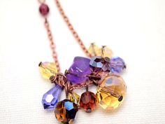 Purple Champagne long necklace in vintage copper chain
