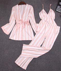 Women's Pink Striped 3-Piece Luxury Pajama Set