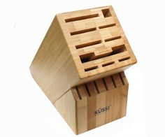 The Kussi 16 Slot Bamboo Block makes a great renewable alternative to other wooden blocks. It has space for all sorts of blades, plus a cleaver, honing steel, and 6 steak knives. Available at House of Knives. Kitchen Knives, Kitchen Gadgets, Knife Storage, Knife Block Set, Steak Knives, Konmari, Wooden Blocks, Slot, Bamboo