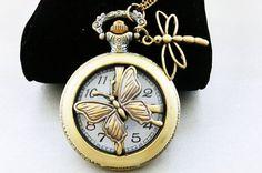 butterfly dragonfly steampunk snitch pocket watch necklace jewelryFrom steampunk
