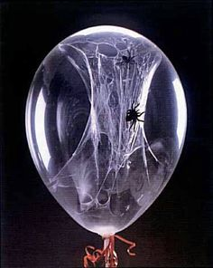 Love this!  Before blowing up the balloon squirt some white glue inside and place a spider or two in as well. Wait about 5 min then blow up, deflate and repeat until the glue sticks and stays to at least 2 sides. You may have to shake the balloon to get a spider stick. But how awesome is this. #MM