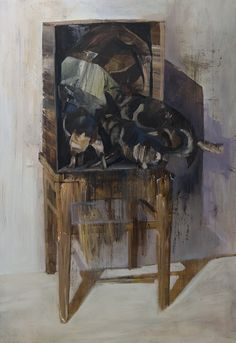 dog box, Tapio Mömmö, oil, 70 x 100cm, 2015 #art #oilpainting #surreal #dog #box