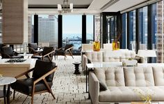 The Langham Chicago executive lounge updates the Mies aesthetic.