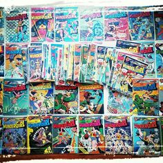 New upcycling material! A bunch of WONDER WOMAN Comics 💞❤💖💕💗💓💝💟💞!!!  Thanx to @Comic Planet