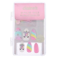 Claire's Pastel Unicorn Stiletto Faux Nail Set - 24 Pack - The most beautiful nail models Claire's Fake Nails, Fake Nails For Kids, Stick On Nails, Glue On Nails, Pink Nails, Summer Acrylic Nails, Cute Acrylic Nails, Cute Nails, Wedding Nail Polish