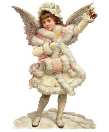 Large Snow Angel with Bell Scrap ~ Germany