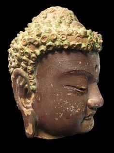 Gilded Wooden Head of Buddha  Origin: China Circa: 1368 AD to 1644 AD Buddha Sculpture, Buddha Statues, African Origins, Buddha Head, Wood Carving, Sculptures, China, The Originals, Buddhism