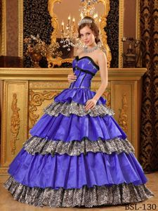 Popular Blue Multi-Layered Quinceanera Dresses with Leopard