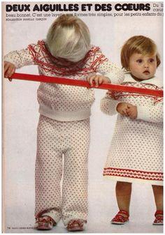 Du tricot jacquard pour les petits Tricot Baby, Vintage Children, Pajama Pants, Pajamas, Blog, Hui, Voici, Journals, Magazine
