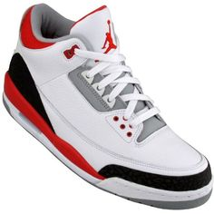Nike Air Jordan 3 Retro (white / fire red / cement grey) - Shoes -... (65 CAD) ❤ liked on Polyvore featuring shoes, sneakers, jordans, chaussures, nike sneakers, nike trainers, white shoes, nike shoes and red trainer