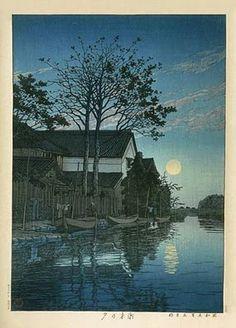 Through the Sapphire Sky: Nightscapes in the woodblock prints(Meiji, Taisho, Showa periods)Evening at Itako,Kawase Hasui(川瀬巴水1883~ 1957)