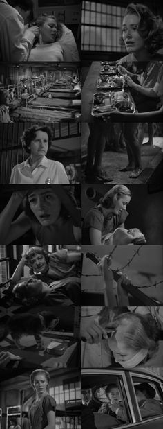 Caged (1950), directed by John Cromwell.  A terrified young woman enters prison. She was in the car when her husband robbed a gas station. Now he's dead, she's 19 and pregnant, doing 1 to 15 as an accessory.  The warden (Agnes Moorehead) is decent and wants to help, but she barely runs the place. The real boss is the monstrous matron of Corridor B, a huge woman who lives well off the inmates and punishes those who don't cooperate: beatings, solitary, shaved heads!