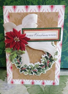 "Handmade Anna Griffin Holiday Trimmings Vintage ""Warm Christmas Wishes"" Card"