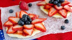 Kick off the Fourth of July with our patriotic, red-white-and-blue pancakes festooned with  jam, sliced strawberries and fresh blueberries.
