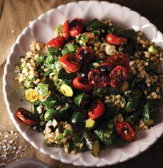 Barley salad with sauteed baby rosa tomatoes and baby marrows