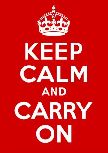 Keep Calm and Carry On was a poster produced by the British government in 1939 during the beginning of World War II, intended to raise the morale of the British public in the event of invasion. It was little known and never used. The poster was rediscovered in 2000 and has been re-issued by a number of private sector companies, and used as the decorative theme for a range of other products. There are only two known surviving examples of the poster outside of government archives.