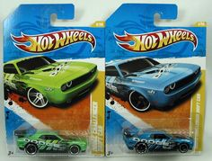 HOT WHEELS DODGE CHALLENGER DRIFT CAR  LOT OF 2  ADD THESE COOL CHALLENGERS TO YOUR COLLECTION  1) 2011 BLUE DODGE CHALLENGER DRIFT CAR NEW MODELS 6/244  2) 2011 GREEN DODGE CHALLENGER DRIFT CAR NEW MODELS 6/244  THESE CARS ARE IN THEIR ORIGINAL PACKAGING AND AS YOU CAN SEE BY THE PHOTOS ARE IN GREAT CONDITION, $12.88