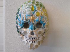 "Golden Sun Goddess Day of the Dead Sugar Skull Mosaic Mask Dia de los muertos. 9"" H X 7"" W For sale on Ebay"
