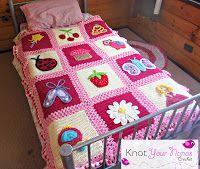 Little Blossom's Blanket. www.knotyournanascrochet.com Pattern & 12 Appliques $20, or Appliques $2 each via Ravelry.