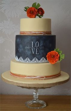 We love this chalkboard wedding cake from The Sweet Suite