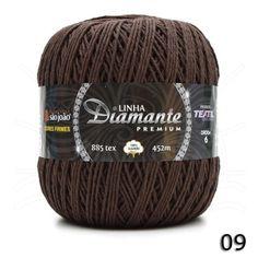 Barbante Diamante Premium nº06 400g na cor Café N°09.