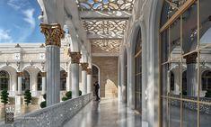 Al Hammam Villas Complex on Behance Classic House Design, Modern Villa Design, Townhouse Exterior, Ancient Greek City, Castle Drawing, Luxury Homes Dream Houses, Dream Homes, Industrial House, Neoclassical