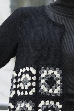 Transcendent Crochet a Solid Granny Square Ideas. Inconceivable Crochet a Solid Granny Square Ideas. Pull Crochet, Gilet Crochet, Crochet Coat, Crochet Jacket, Crochet Cardigan, Crochet Clothes, Granny Square Crochet Pattern, Crochet Squares, Crochet Granny