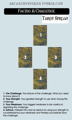 Tarot Tips http://arcanemysteries.tumblr.com/ Facing A Challenge Tarot Spread.