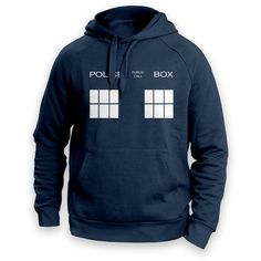 Police Box Unisex Hoodie Available in 4 Colours and Sizes From Small... ($22) ❤ liked on Polyvore featuring tops, hoodies, black, sweatshirts, women's clothing, hooded sweatshirt, unisex tops, sweatshirt hoodies, hoodie top and hooded pullover