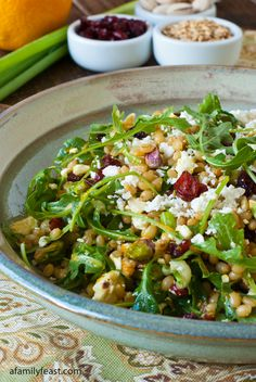 Wheatberry Salad with Cranberries, Feta and Orange Citronette - healthy and delicious!