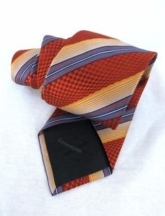 Ermenegildo Zegna Tie Orange Check 3D Woven Striped Thick Silk 59 x 3.5 Italy #BurberryLondon #NeckTie