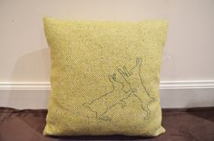 Tweed Cushion with hand embroidered boxing hare by TallaTweed- wee bunnies!