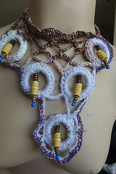 HANDMADE STATEMENT CROCHETED NECKLACE FIBER ART AND BEADS NO METAL SPECIAL GIFT