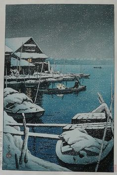 Kawase Hasui, Snowstorm at Mukojima, 1931, woodblock print