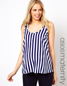 ASOS Maternity | ASOS Maternity Woven Tank in Stripe at ASOS