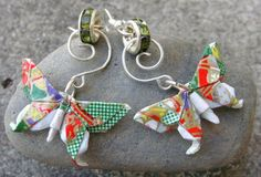 Lacquered Origami Butterfly Earrings Green floral by Beadiologist, $17.00