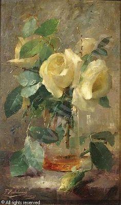 MORTELMANS Frans (Franz) - Roses blanches dans un vase
