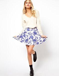 Image 1 ofASOS Skater Skirt in Toile de Jouy Print