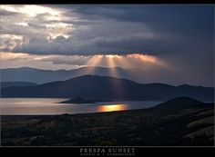 Prespa Sunset  by Yannis H Celestial, Explore, Mountains, Sunset, Nature, Travel, Outdoor, Sunsets, Outdoors