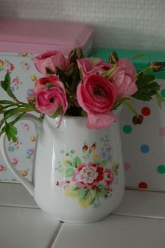 Pretty Pink Roses in Enamel Pitcher