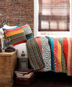 Loving this Turquoise & Tangerine Boho Stripe Quilt Set on #zulily! #zulilyfinds- I am afraid I could not resist :)