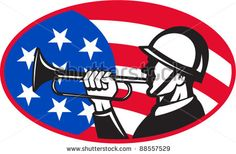 illustration of an American soldier with bugle and stars and stripes flag set inside ellipse done in retro style. - stock vector #bugle #retro #illustration