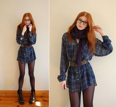 Adorable girl in plaid American Apparel shirt with classic Doc Martens.